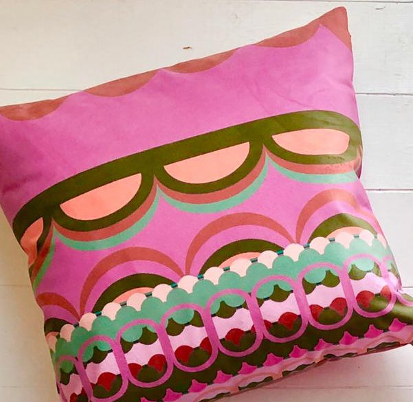 Image of Disc 'O' Pink/Sage Velvet Cushion