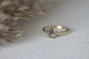 Image of 18ct gold, marquise cut 'Salt and pepper' rose-cut diamond ring  IOW165
