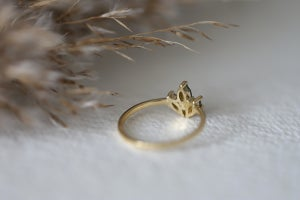 Image of 18ct gold marquise cut 'Salt and Pepper' rose-cut diamond ring (IOW165)