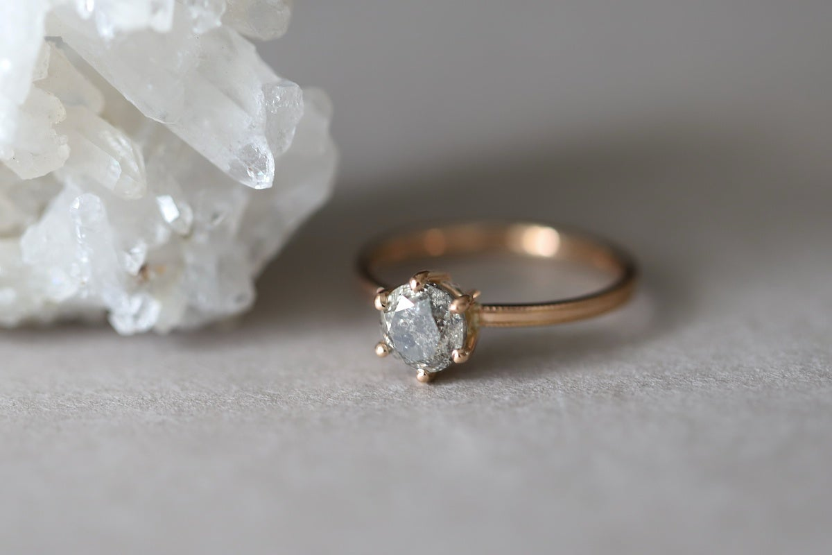 Image of 18ct Rose Gold, Brilliant Cut Grey Diamond ring IOW166