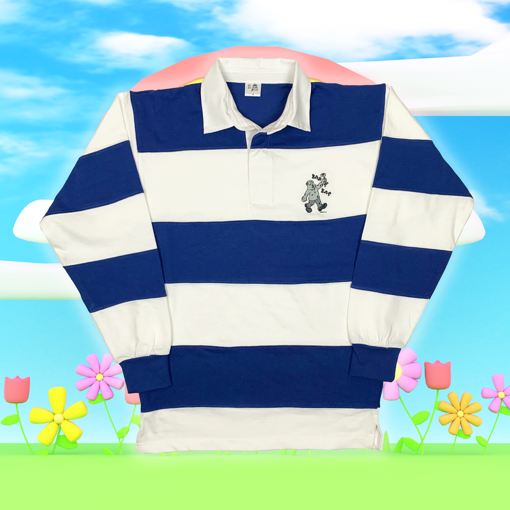 """Image of """"Sad Sac"""" embroidered rugby shirt (Blue)"""