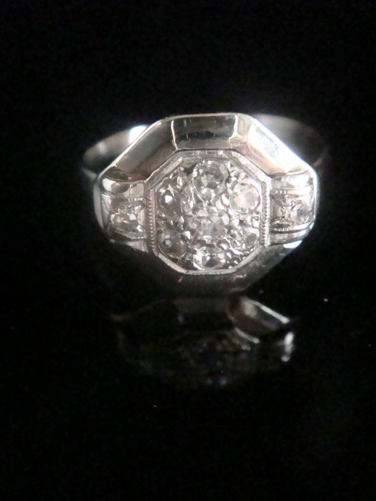 Image of ART DECO 18CT WHITE GOLD FRENCH OLD CUT NATURAL DIAMOND TARGET CLUSTER