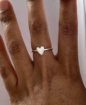 Image of Silver stacking heart ring