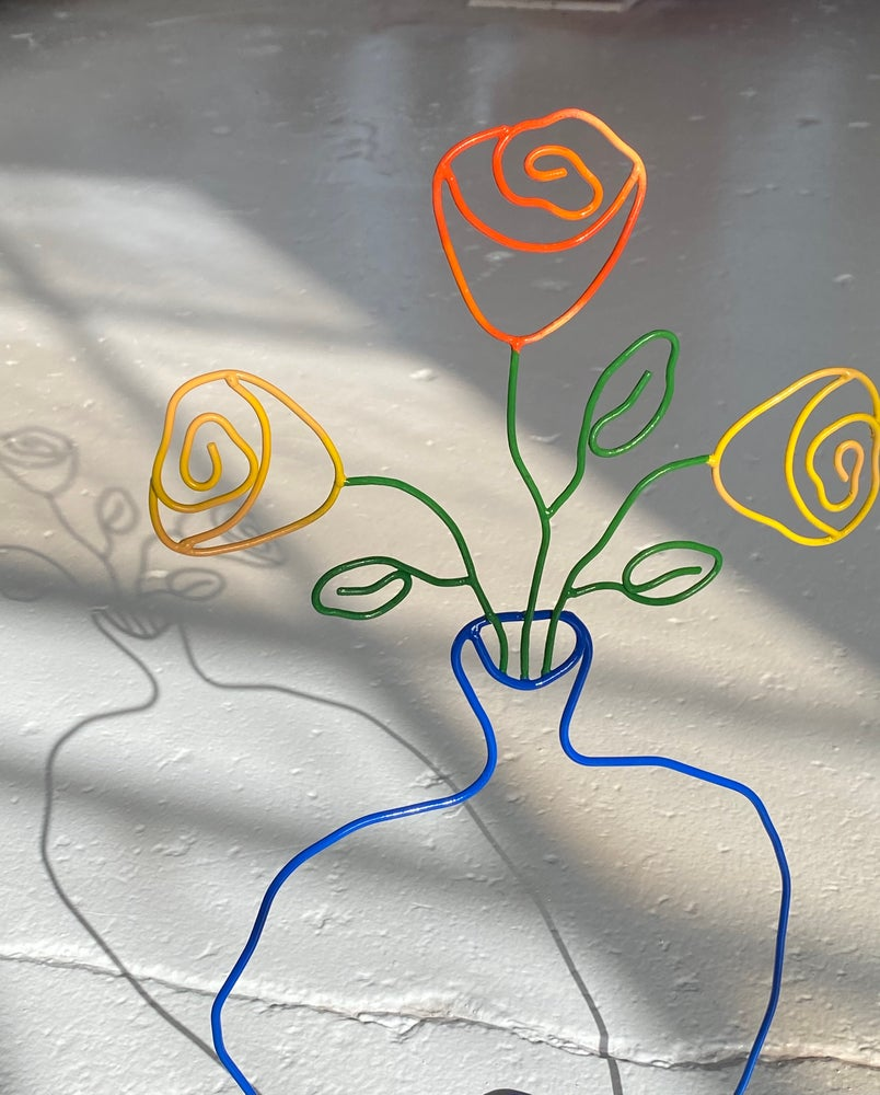 Image of Warm Roses Blue Vase