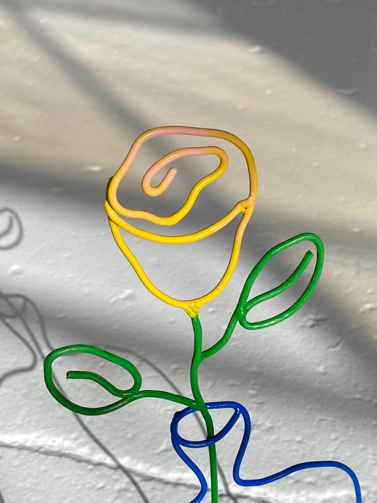 Image of Yellow Rose Blue Vase Mini