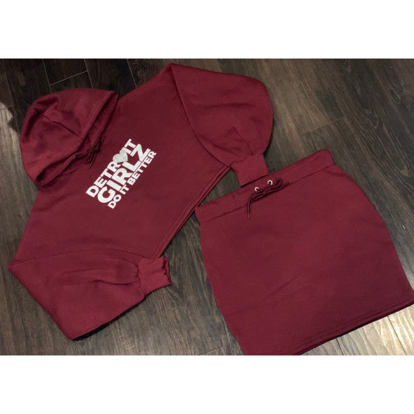 Image of The Do It Better Burgundy Skirt Set