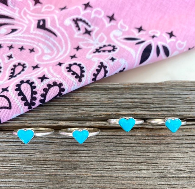 Turquoise Sweetie Heart Rings