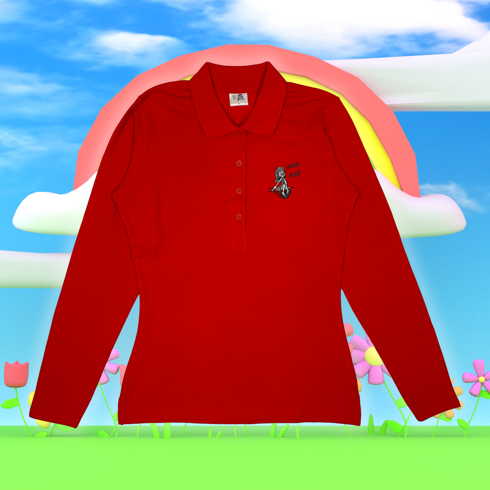 """Image of """"Cry Bby"""" embroidered long sleeve pique shirt (Red)"""