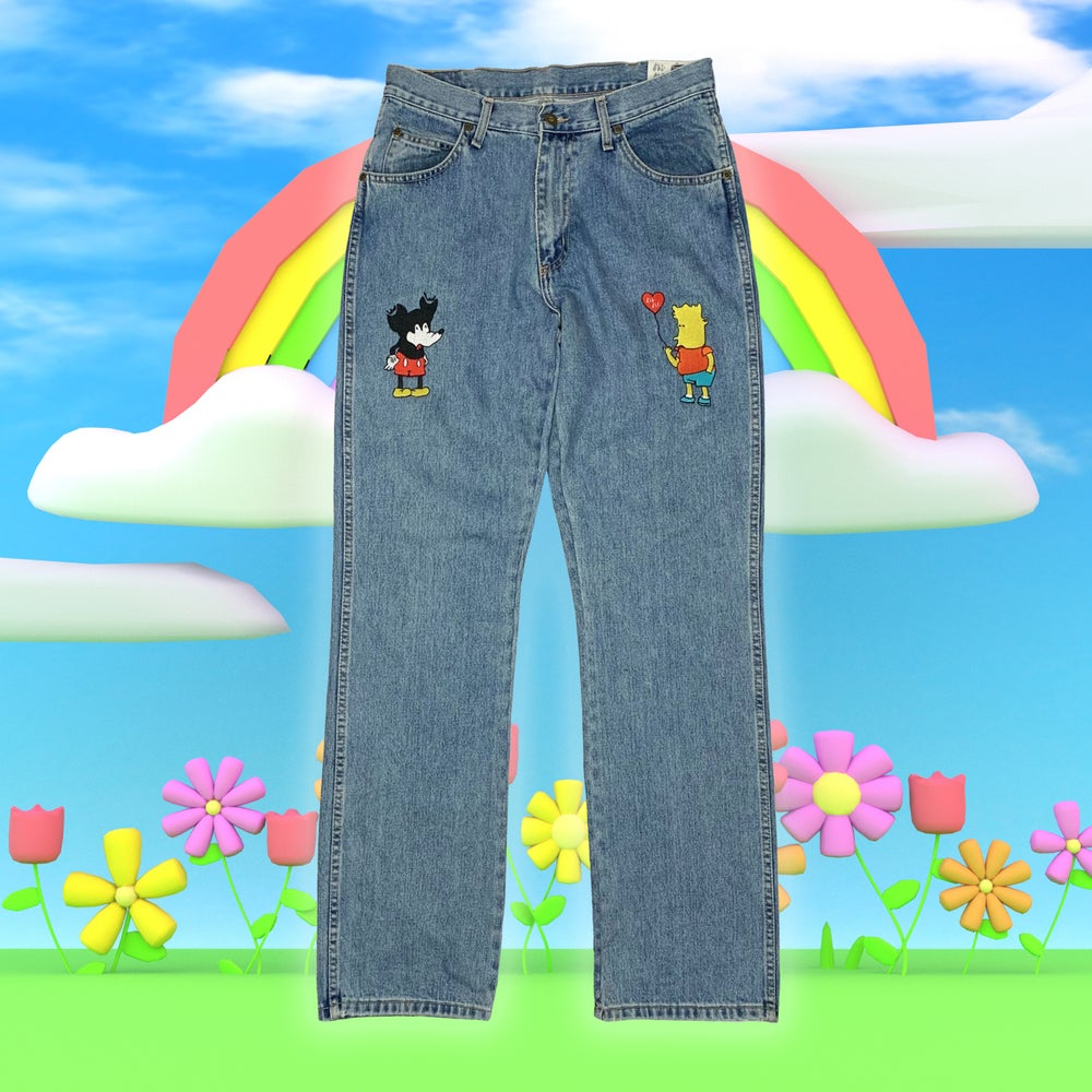 """Image of """"Love is love"""" embroidered denim jeans (Blue)"""
