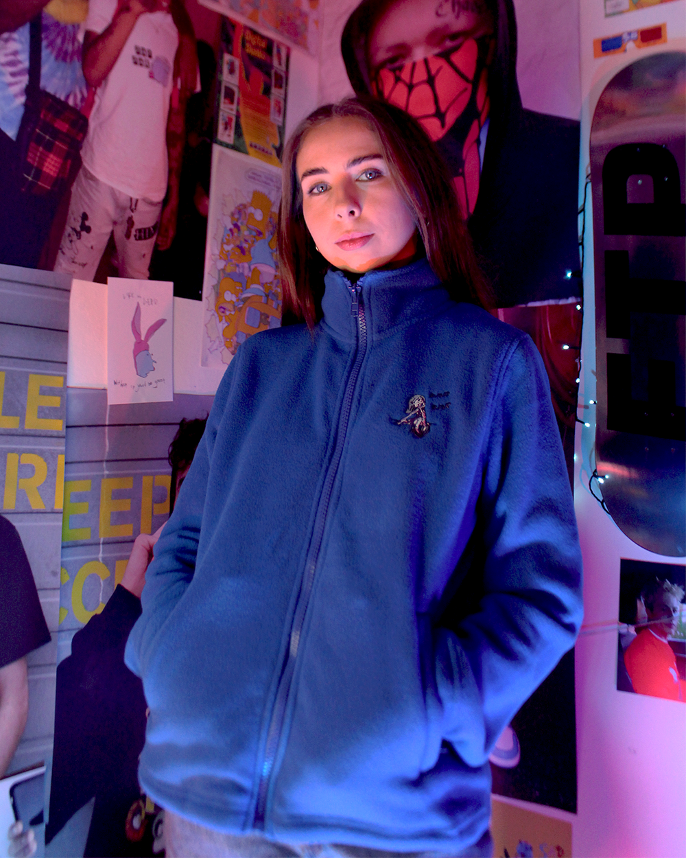 """Image of """"Cry Bby"""" embroidered full zip fleece (Blue)"""
