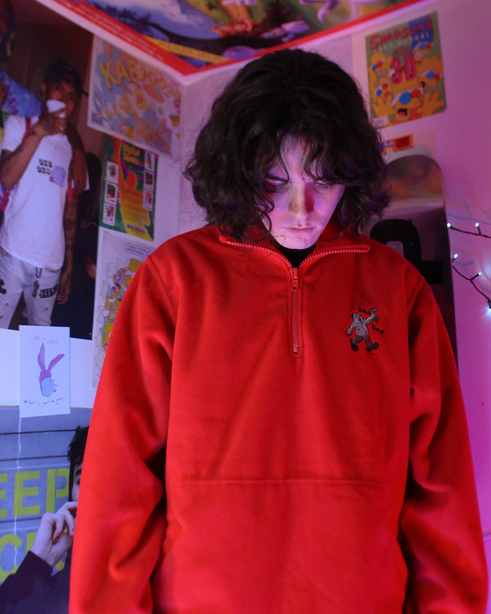 "Image of ""Sad Sac"" embroidered quarter zip fleece (Red)"