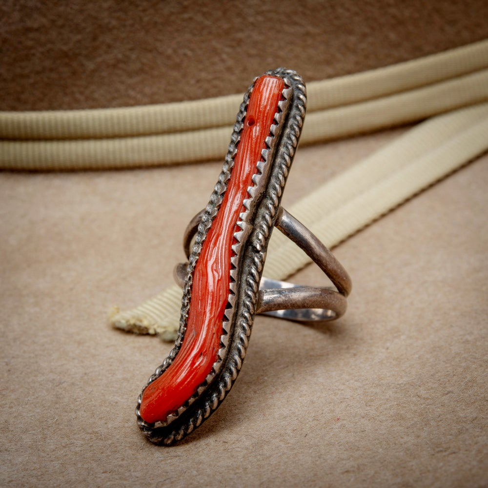 Image of Zuni Sterling Silver Red Coral Ring  Size 5.2.