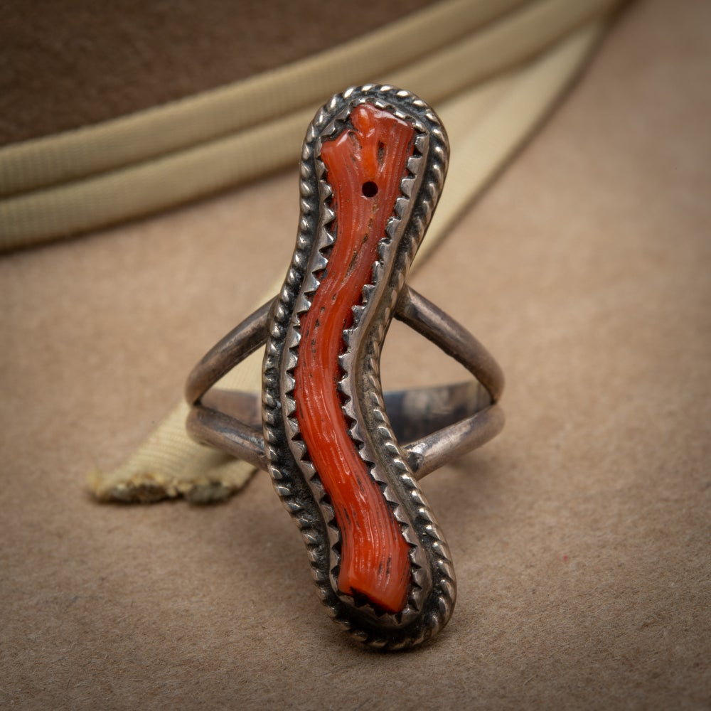 Image of Zuni Sterling Silver and Red Coral Ring  Size 5.9