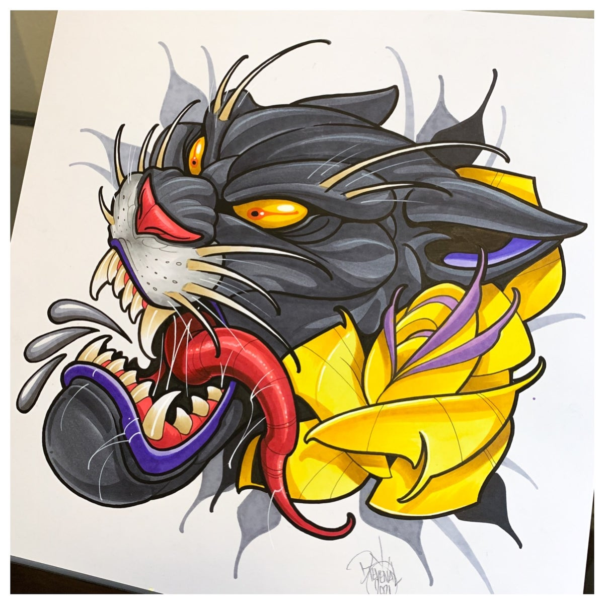 Image of 12x12 Panther with Yellow Rose