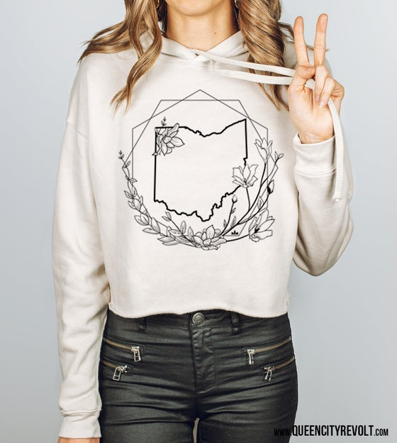 Image of Ohio Floral Geo Cropped Hoodie, Heather Dust