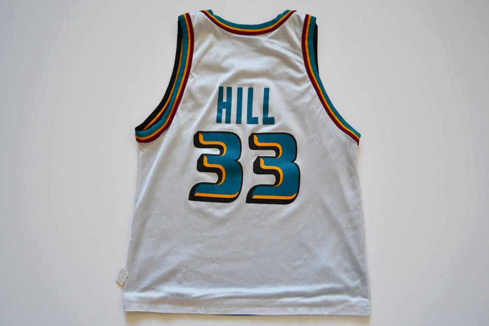 Image of Vintage 1990's Detroit Pistons Grant Hill Champion Reversible Jersey Sz.M (Youth)