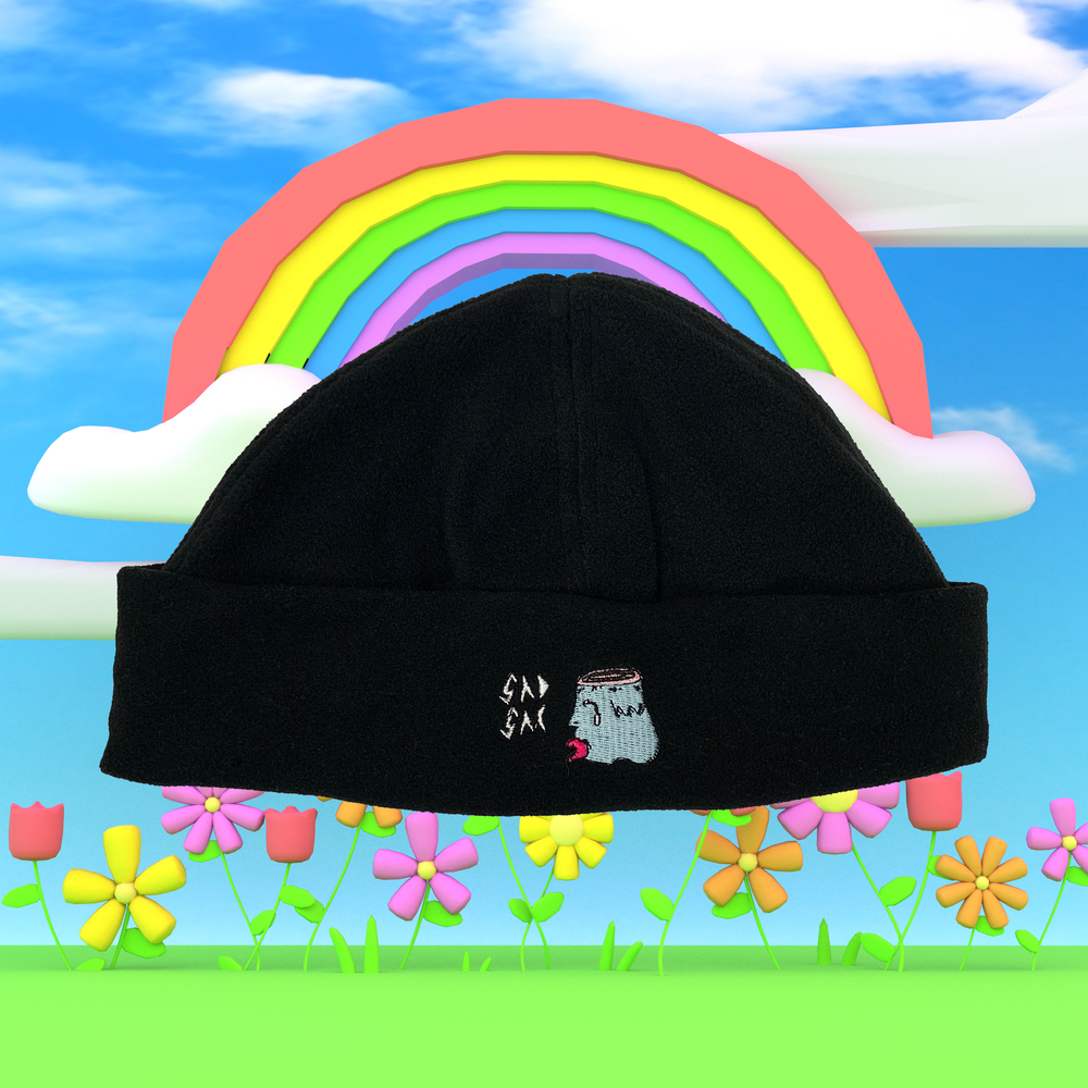 """Image of """"Core logo"""" embroidered fleece beanie (Black)"""