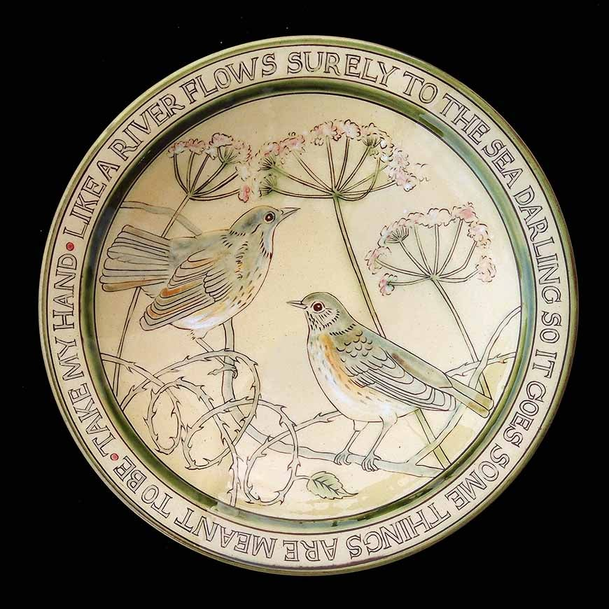 Image of MARGARET BRAMPTON - 'LIKE A RIVER FLOWS SURELY TO THE SEA.....' -CERAMIC BOWL WITH BIRDS & FLOWERS