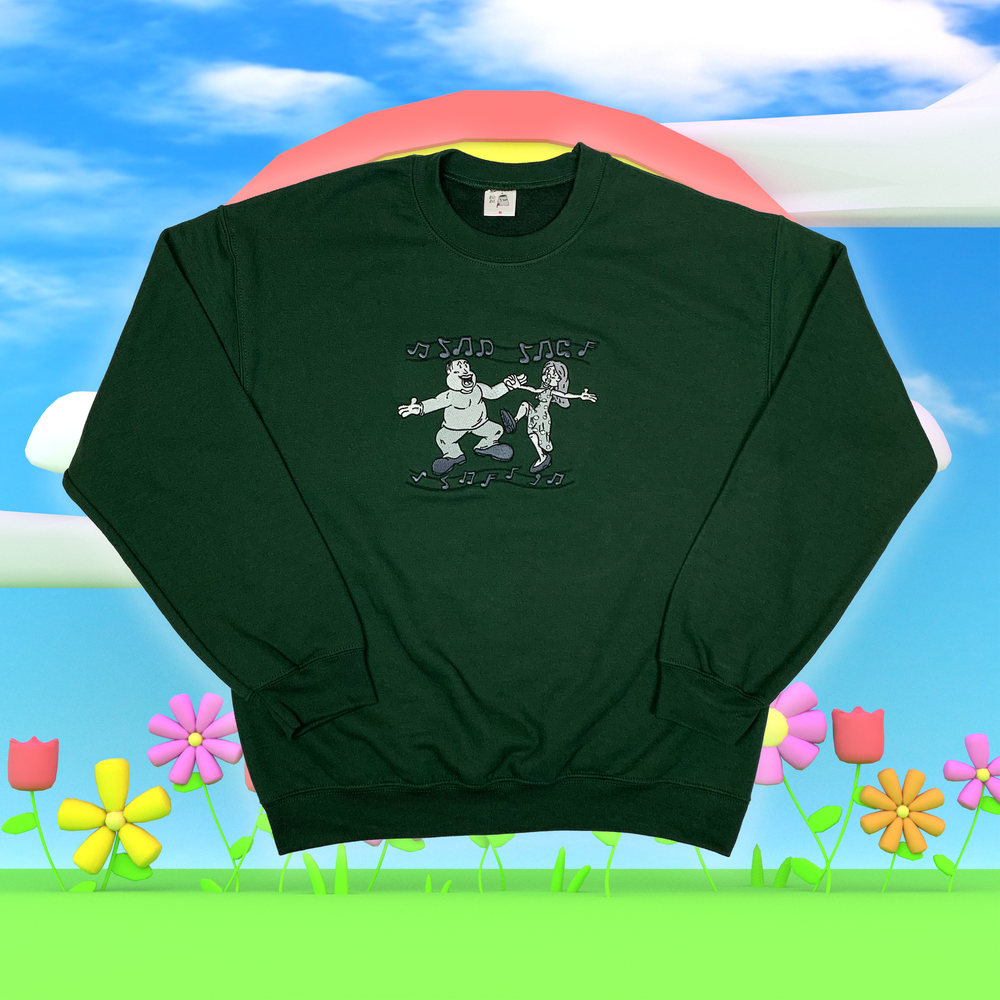 """Image of """"Sad Sac meets Cry Bby"""" embroidered sweatshirt (Forest green)"""