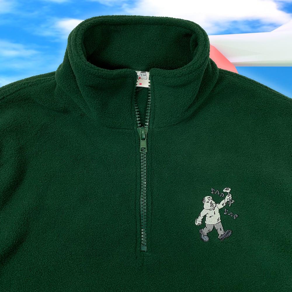 "Image of ""Sad Sac"" embroidered quarter zip fleece (Forest green)"