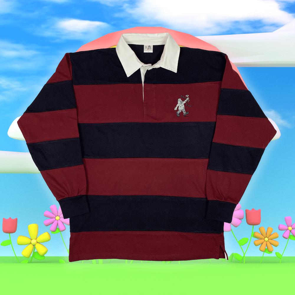 """Image of """"Sad Sac"""" embroidered rugby shirt (Burgundy)"""
