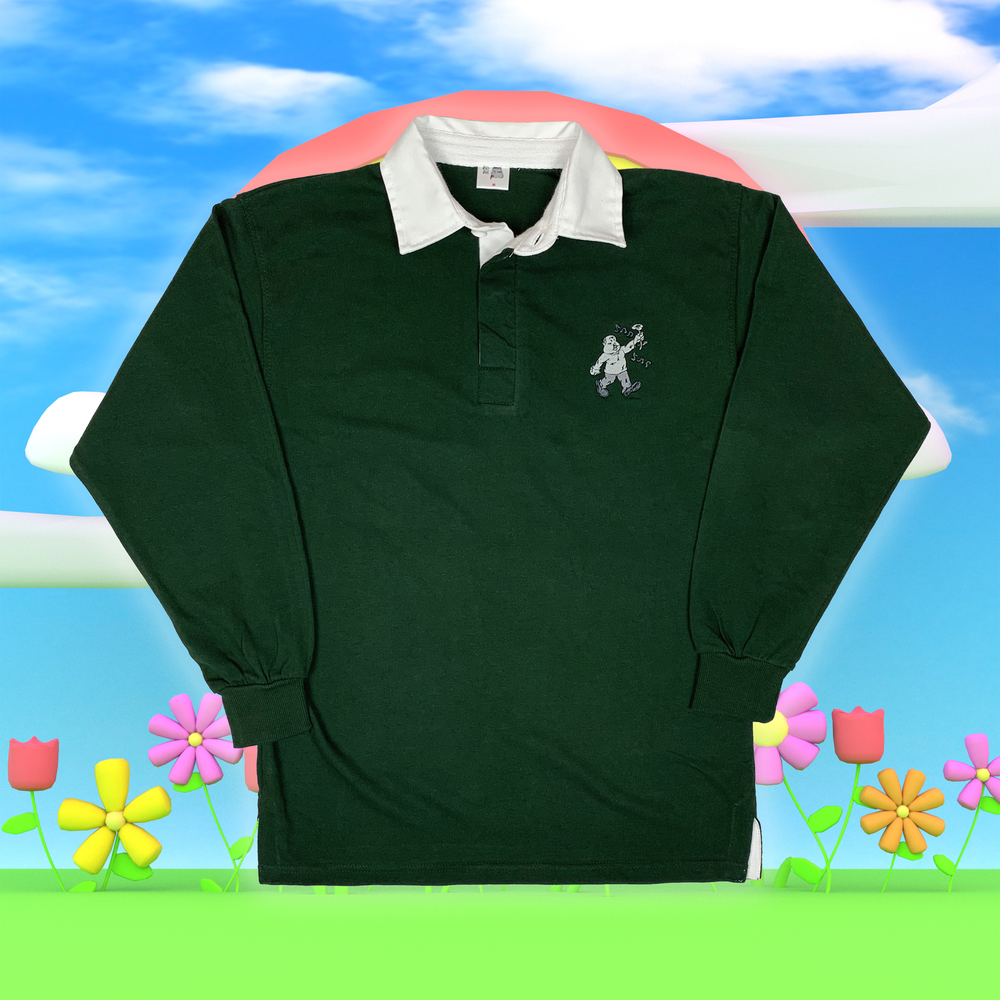"""Image of """"Sad Sac"""" embroidered rugby shirt (Forest green)"""