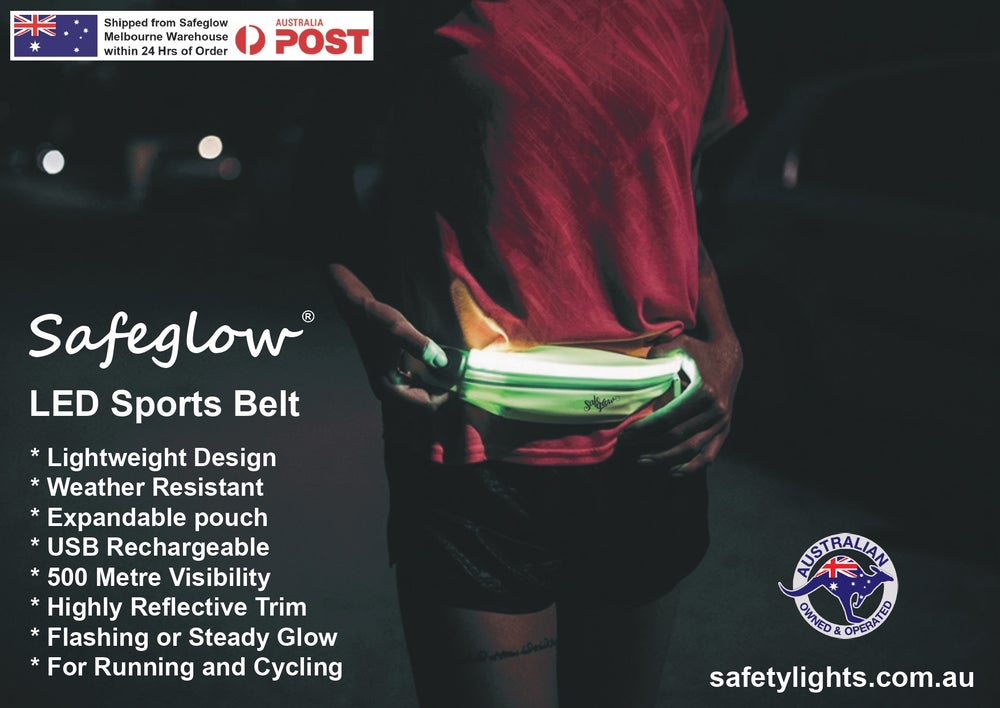Image of Safeglow® LED Jogging & Cycling Belt. Rechargeable. Plus FREE $11.95 LED Wrist Band with Order.