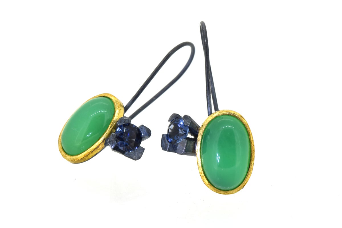 Contemporary Earrings. Chrysoprase and spinel in 18ct and oxidised silver. Chris Boland Jewellery