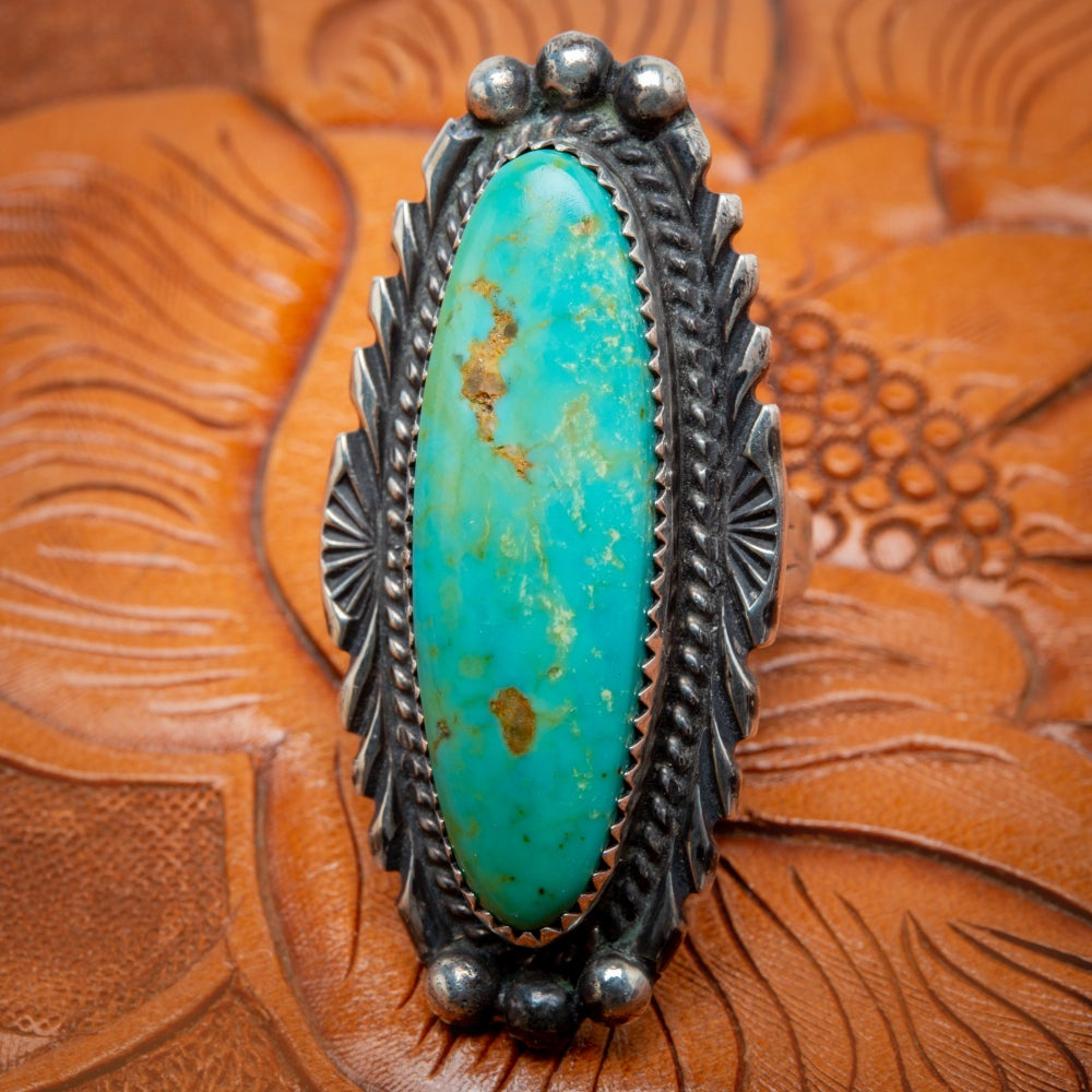 Image of Billy Slim Navajo Silversmith Sterling Silver and Tyrone Turquoise Ring Size 8.5