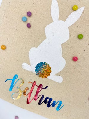 Image of Personalised Easter tote bags with rainbow holographic tail and name
