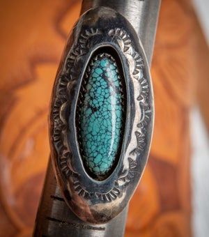 Image of Sterling Silver and Spiderweb Turquoise Shadowbox Ring by Navajo Silversmith Patricia Platero 6.5