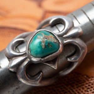 Image of Navajo Sandcast Sterling Silver Ring with Turquoise Nugget Stone Size 6
