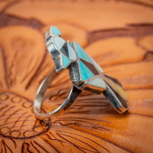 Image of Zuni Thunderbird  Ring with Turquoise, Jet and Mother of Pearl Channel Inlay size 6.5