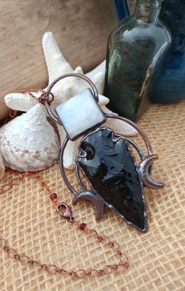 Image of Rainbow Moonstone + Obsidian Arrow Pendant