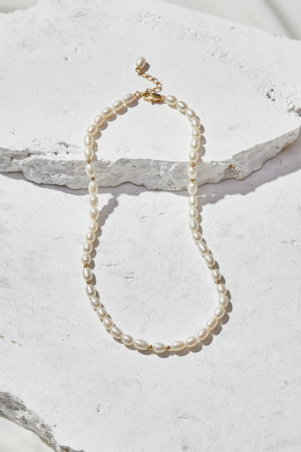 Image of Pearls with Gold Beads Beaded Necklace