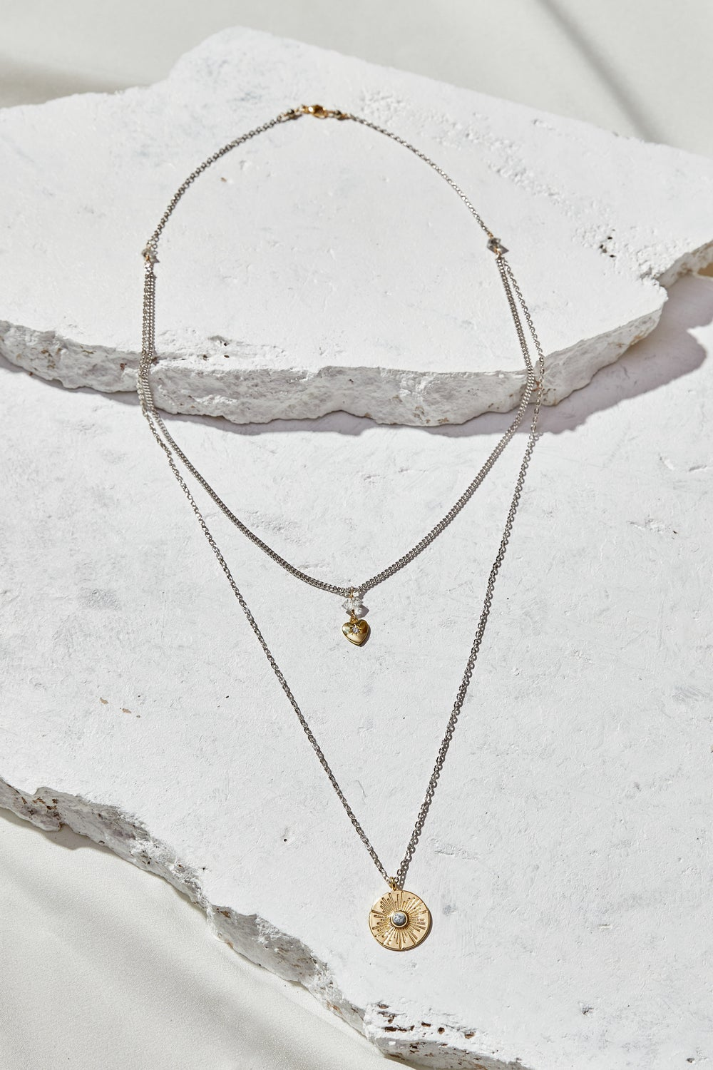 Image of Howlite + Herkimer with Tiny Gold Heart Layered Necklace