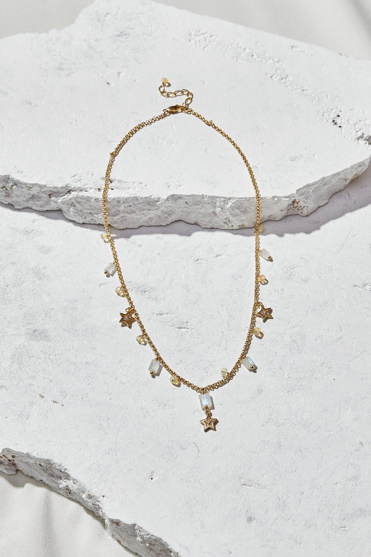 Image of Rainbow Moonstone + Opal + Stars Statement Necklace