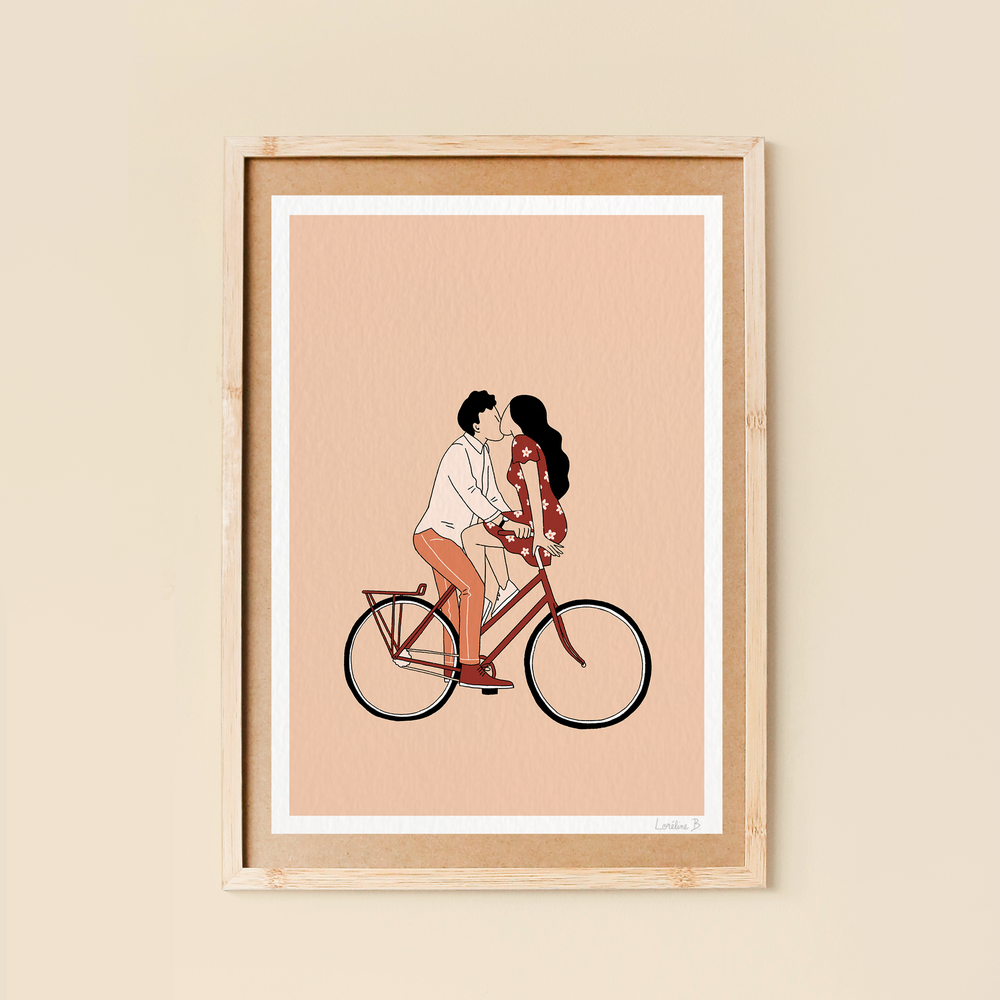Love in bike . affiche 21x29,7cm