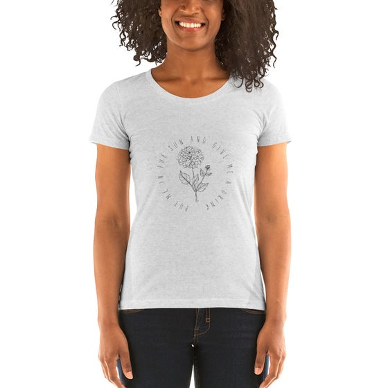 """Image of Ladies' short sleeve t-shirt Flower Sketch """"Put Me In The Sun And Give Me A Drink."""""""