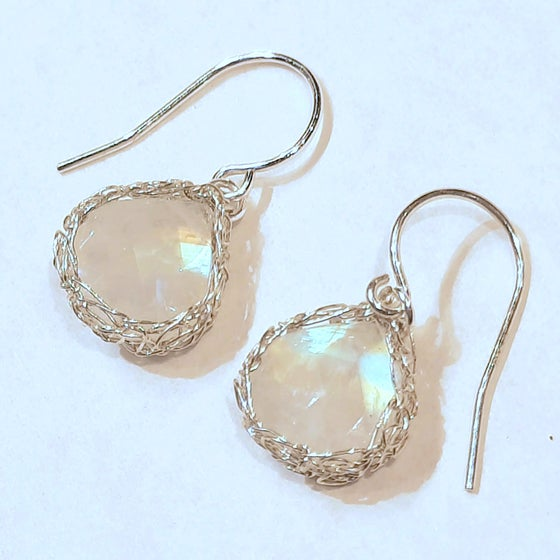 Image of Sterling Silver and Rainbow Moonstone Crochet Earrings