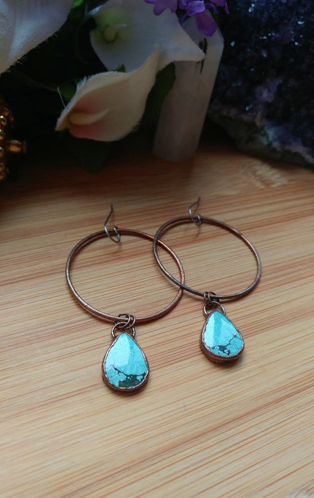 Image of Turquoise Statement Hoop Earrings