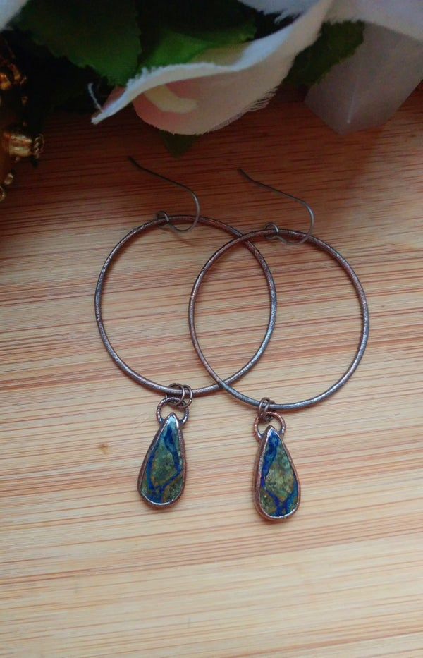 Image of Azurite Hoop Earrings