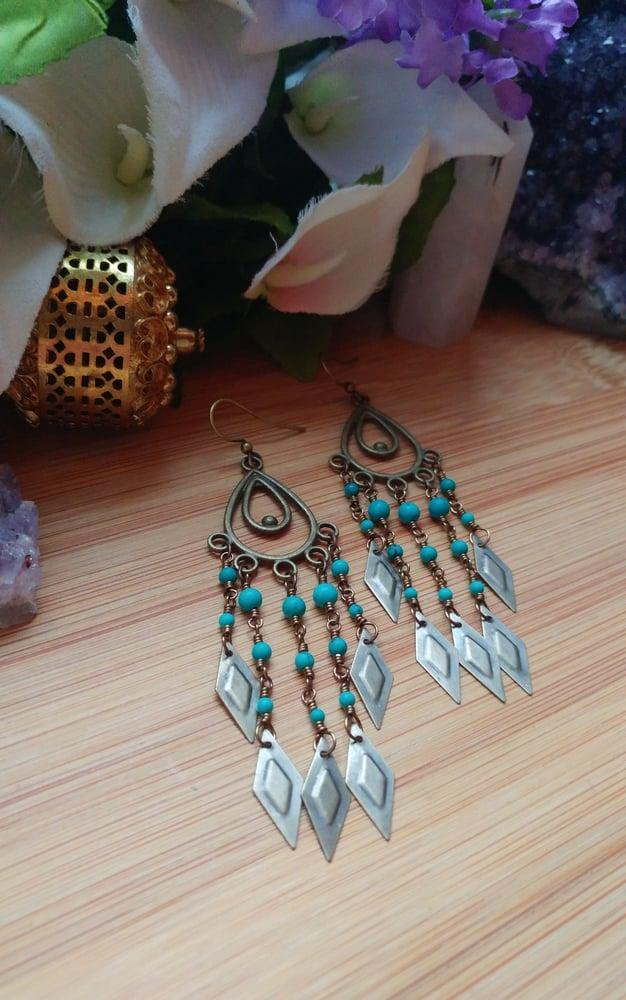 Image of Turquoise Chandelier Earrings #2