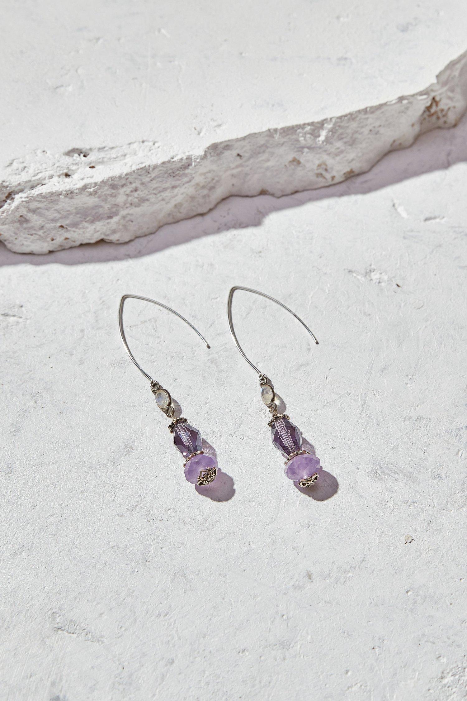 Image of Amethyst + Rainbow Moonstone Earrings