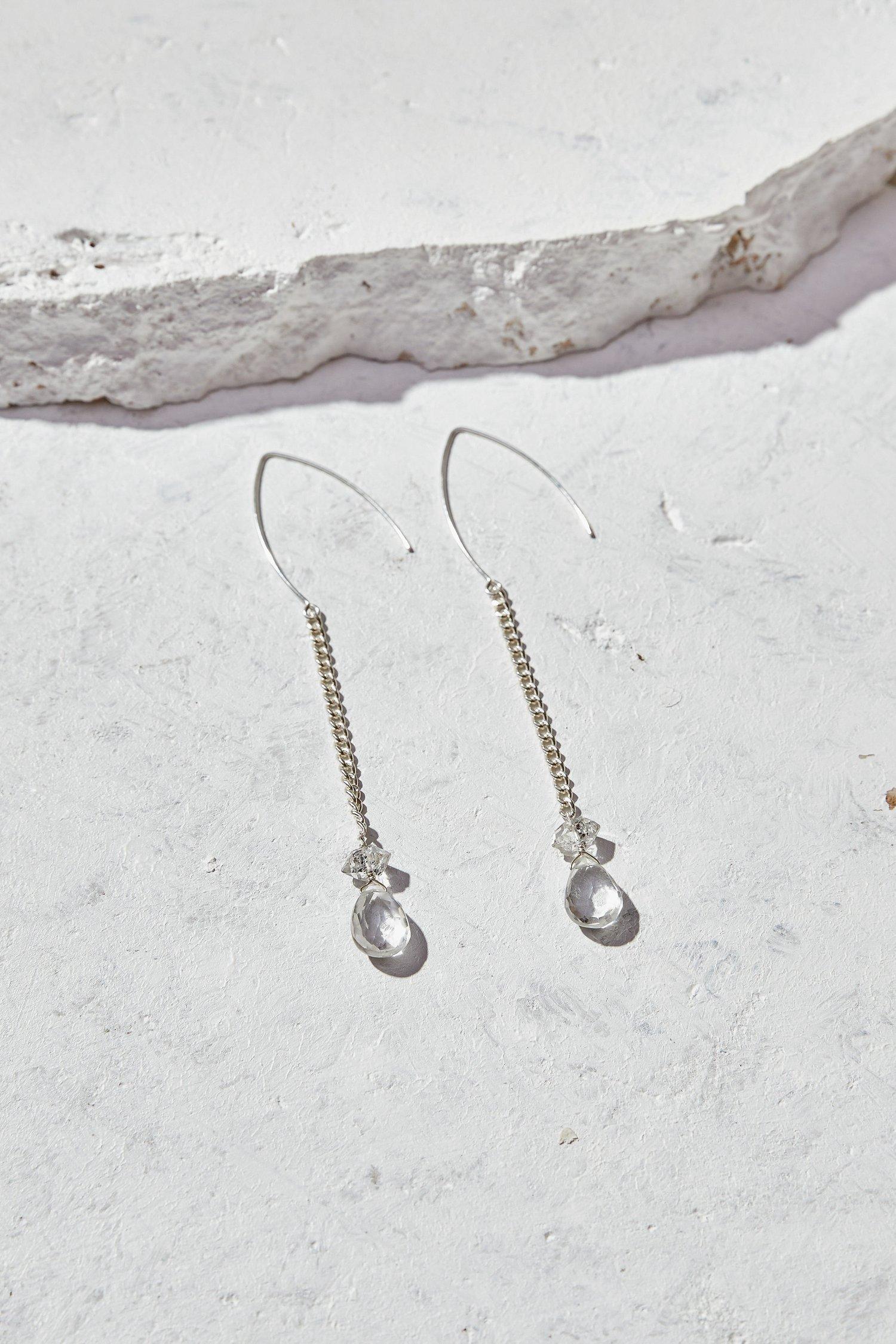 Image of Crystal Quartz + Herkimer Earrings