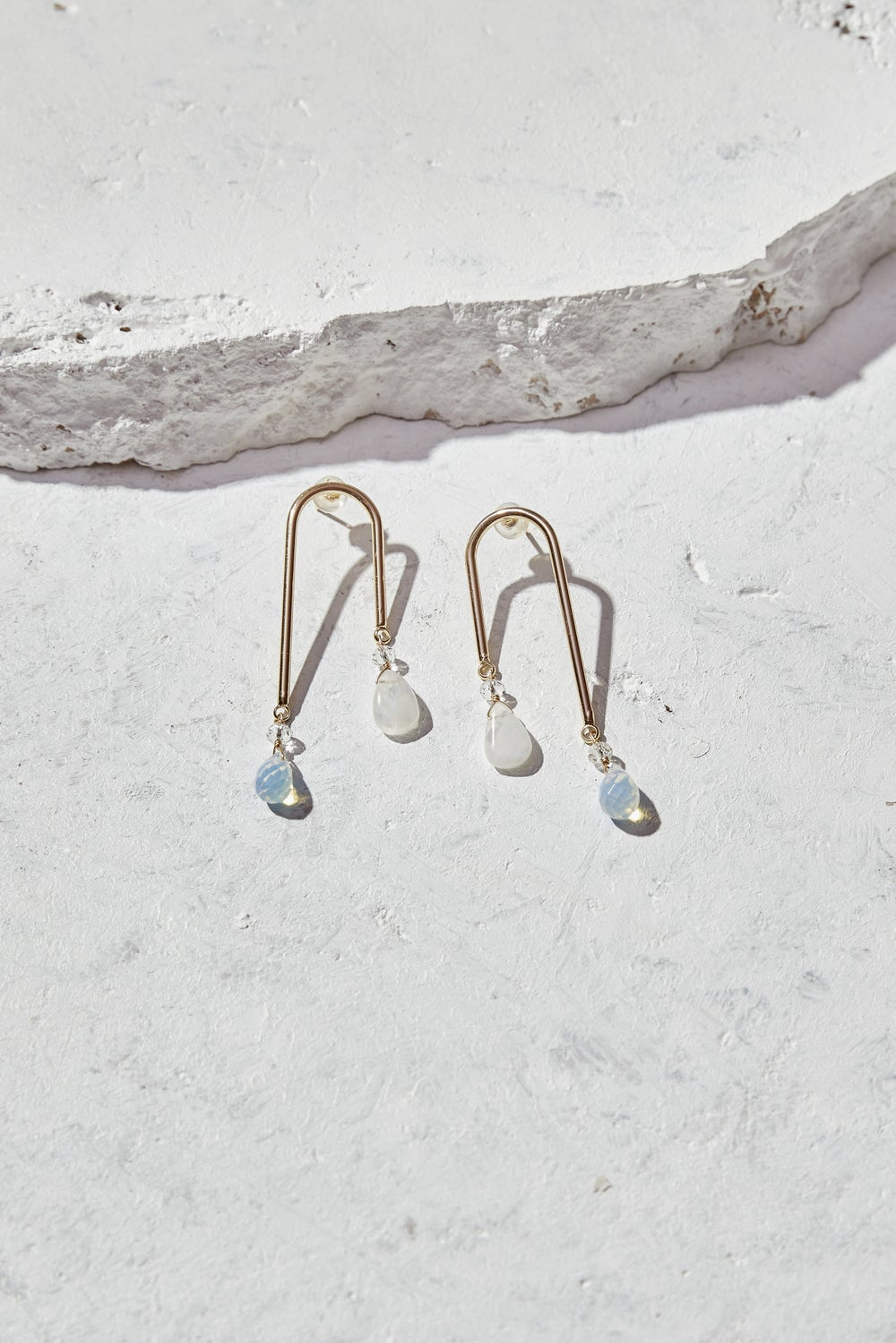 Image of Rainbow Moonstone + Opalite Statement Earrings