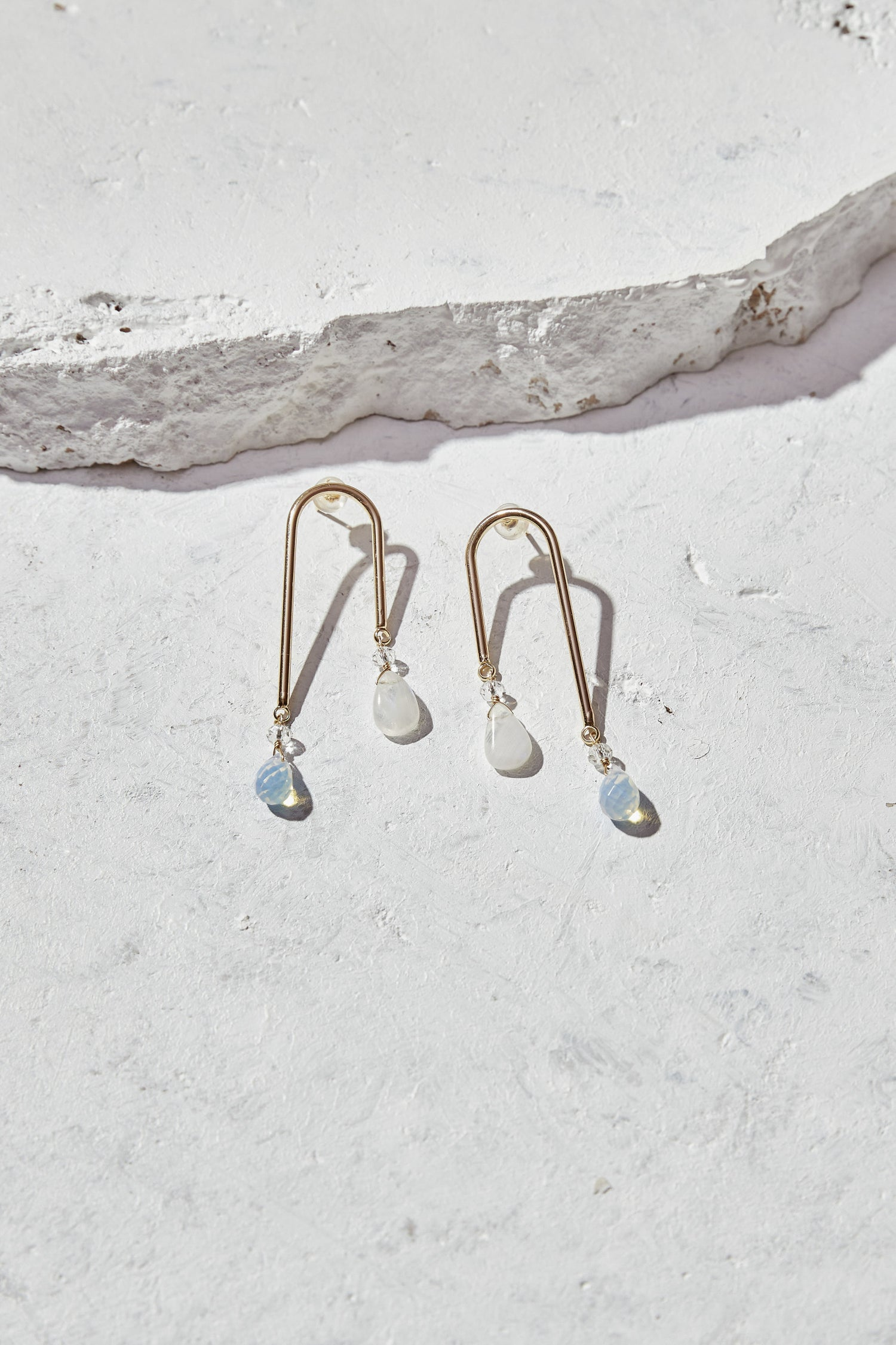 Image of Rainbow Moonstone + Opalite Statement Earrings