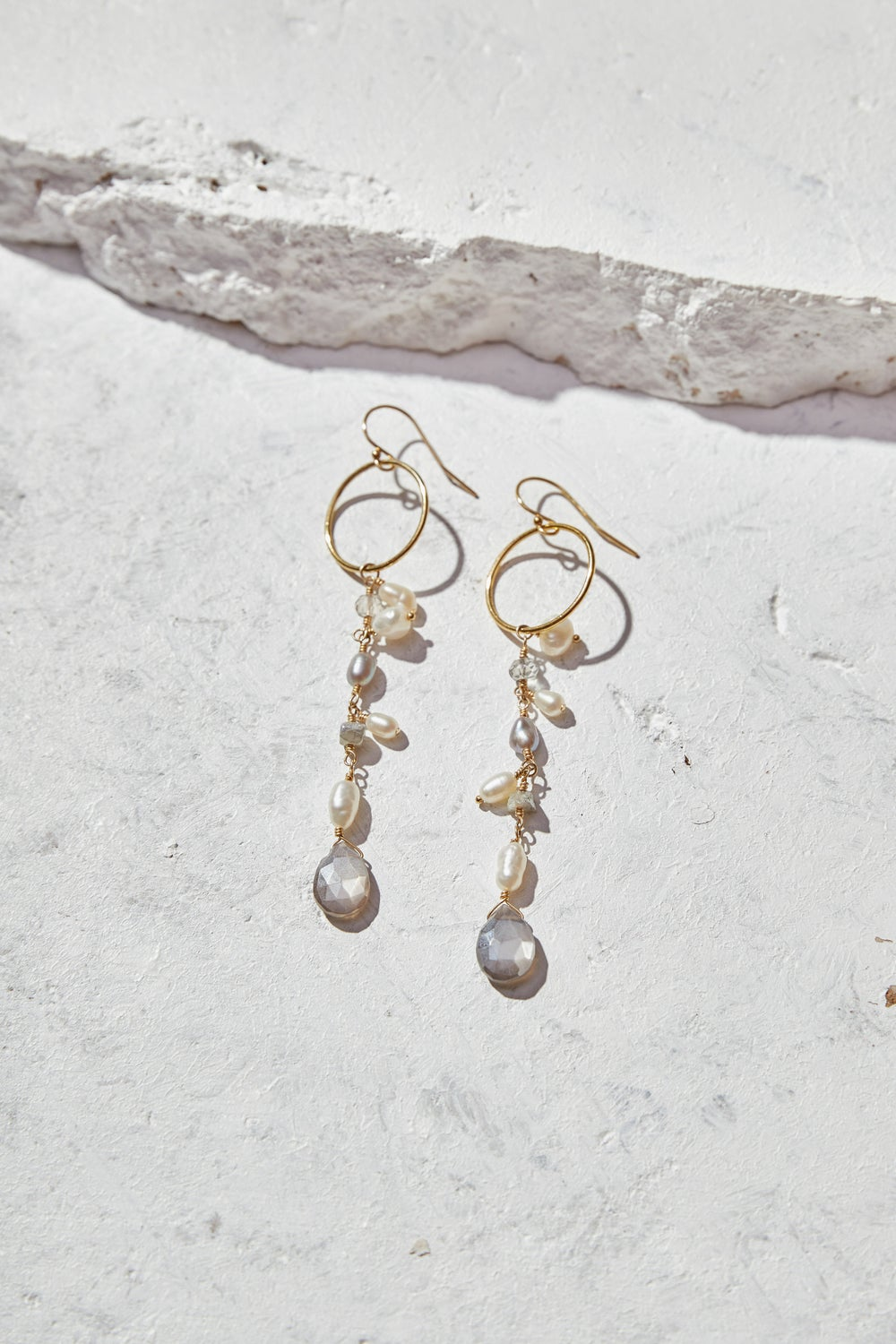 Image of Pearls + Moonstone Statement Earrings