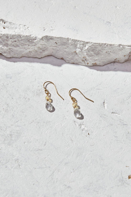 Image of Clear Quartz + Opal Earrings