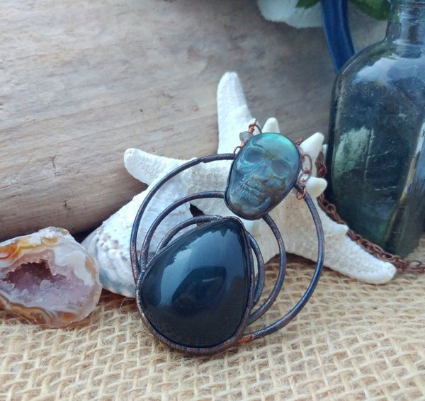 Image of Labradorite Skull and Rainbow Obsidian Pendant